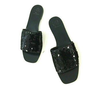 Euc Tory Burch Carter Sequin Slide Sandals Black